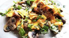 RECIPE: Raw Pumpkin Pasta Lemon, Mushroom & Thyme  http://roarfood.co.nz/blog/2013/03/05/recipe-raw-pumpkin-pasta/