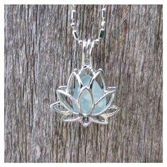 Sea Glass Lotus Flower Locket Aqua by Wave of LIfe ❤ liked on Polyvore
