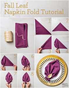 Napkin Folding - Seasonal Ideas For Table Decoration . Awesome How To Set A Table For Dinner Holiday Napkin . Beverage Napkins, Cocktail Napkins, Purple Cocktails, Cloth Dinner Napkins, Deco Table Noel, Decoration Table, Dinner Table, Fall Dinner, Autumn Leaves
