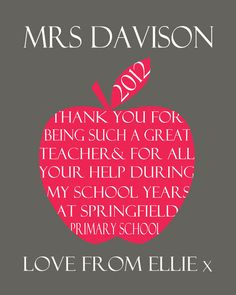 Thank You Teacher Personalised Typographic Apple Print by Ciliegia Designs