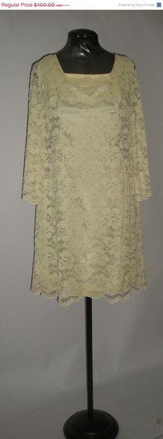 JULY 4 SALE Pretty Lemon Yellow Lace 60s by VintageClothes4U, $34.99