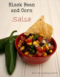 {I Love} My Disorganized Life: Black Bean & Corn Salsa Healthy Snacks, Healthy Eating, Healthy Recipes, Yummy Recipes, Dip Recipes, Amazing Recipes, Mexican Dishes, Mexican Food Recipes, Sauces