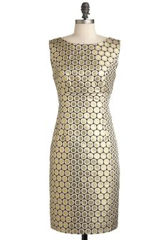 Coin the Fun Dress - Mid-length, Gold, Party, Cocktail, Sheath / Shift, Sleeveless, Print, Vintage Inspired, Luxe, Holiday Party, Glitter