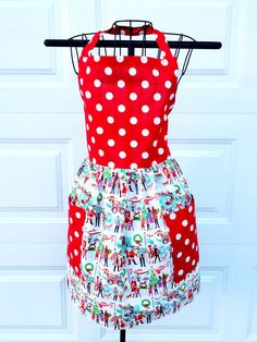 Christmas Apron  Red Polka Dot Apron with by LindasOtherLife, $30.00