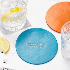 Personalised Hand painted leather coaster by ParkinandLewis