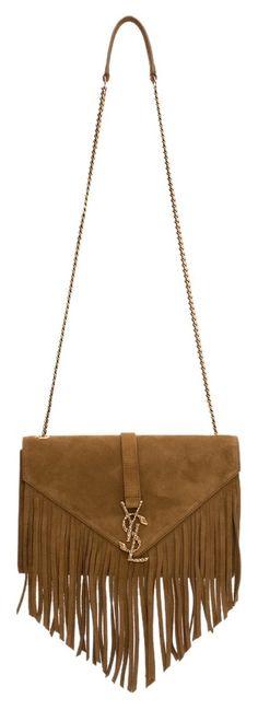 d52118e79aa Saint Laurent Ysl Monogram Medium Serpent Suede Leather Fringe Chain Brown  Cross Body Bag. Get