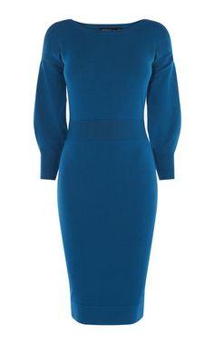 Karen Millen, SPORTY STRIPE KNITTED DRESS Blue