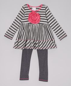 Love this Gray & Charcoal Stripe Rosette Tunic & Leggings - Toddler & Girls by Freckles + Kitty on #zulily! #zulilyfinds