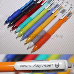 Dong-A Any Plus + hybrid ink  Ball Point pen -0.5mm - Black7, Red1,Blue1 - 9 Pcs #DongA