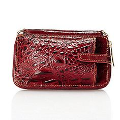 Madi Claire Croco Embossed Leather Zip Around Convertible Cell Phone Wallet