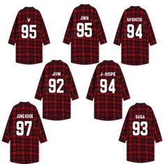 KPOP BTS Jimin Rap Monster Shirt Bangtang Boys Suga Jung Kook Red Plaid Cotton Three-Quarter Sleeve Shirts