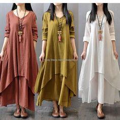 Women Casual Cotton Linen Long Sleeve A-line Shirt Loose V-neck Layer Long Dress #Bestashopping #Tunic #Casual