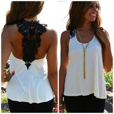 Fontaine Ivory and Black Lace Back Tank