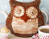 owl knitting pattern tea cosy PDF email £2.50