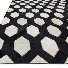 Black and Ivory Hand-Stitched Cowhide Rug