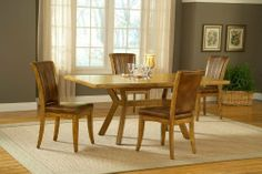 Grand Bay 5-Piece Rectangle Dining Set - Medium Oak - Hillsdale - 4337Dtbrtc by Hillsdale Furniture. $1099.00. When it comes to comfort and class you cannot get any better than the Grand Bay dining collection. With options for round or rectangle tables, caster or stationary chairs, this collection provides great combinations for function and charm. The warm antique brown fabric on the chairs pairs with the Medium Oak finish of the wood to create stylish accent to any home.If yo...