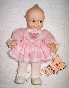 "Adorable Vintage Kewpie Doll Original with Hand Tag 1987 Jesco Pink Ruffled Dress 8"" Hard Plastic   $37.95"