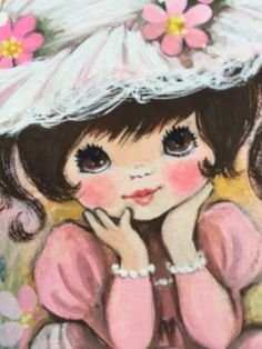 Girl in Pink, Big Eyes, Watercolor, DAC collection - Donald Art Company Collection Vintage Birthday Cards, Vintage Greeting Cards, Vintage Postcards, Big Eyes Paintings, Monster High Art, Popular Paintings, Mother's Day Diy, Sketchbook Inspiration, Illustration Girl