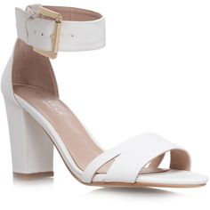 Carvela Kurt Geiger Carly Sandals (520 DKK) ❤ liked on Polyvore featuring shoes, sandals, heels, white, carvela kurt geiger, white shoes, heeled sandals, white sandals and white heel sandals