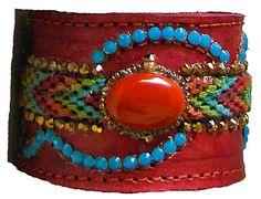 Bohemian Burnt Umber Leather Cuff Bracelet - Adorned With Friendship Bracelet, Burnt Umber Cabachon & Swarovski Crystals  $95.00