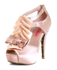 Pink Betsey Johnson shoes with pink bow, t-ruffles,