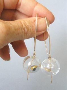 Lampwork glass earrings. transparent hollow dangle by anatglass