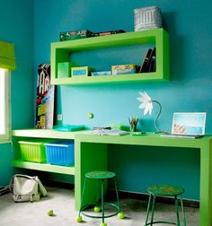 workspace / desk for kids - this is cool. I would love to have this for myself. =)