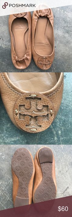Tory Burch Camel Leather Flats 8 Worn once! Tory Burch camel leather flats in size 8M . Very good condition with minor wear. Does not include box. Tory Burch Shoes Flats & Loafers