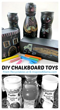 DIY Chalkboard Toys Recycled Craft at B-Inspired Mama #recycling #earthday #kidscraft #kids #binspiredmama #kbn