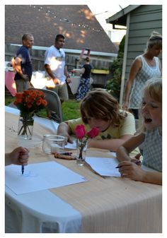 Fun pictures from a Backyard end of summer party // party coloring station for kids