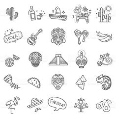 Mexican culture icons set. Day of the Dead royalty-free mexican culture icons set day of the dead stock vector art & more images of nacho chip