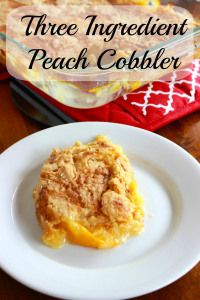 Three ingredient peach cobbler.  So fast, so simple,  so good!  And not even a bowl to clean : )!