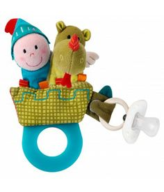 A teething rattle from #Lilliputiens, a little hook to keep baby's pacifier safe, and finger puppets to tell lovely stories about Walter and the brave knight... plenty to keep baby smiling. $14.99