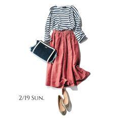 """春を先取りしたいから、きれい色スカートで""""桃の枝花""""を買いに行く!Marisol ONLINE 女っぷり上々!40代をもっとキレイに。"""