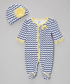 Love this Baby Essentials Navy Stripe Footie & Beanie by Baby Essentials on #zulily! #zulilyfinds