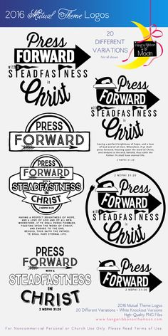 2016 Mutual Theme Logos: 20 different versions! FREE DOWNLOAD. Use for Youth Conference, Young Women, Girls Camp and more!