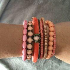 Coral Bangle Set Bracelets