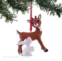 Rudolph Red Nose Reindeer Rudolph and Bunny Ornament 4045007 NEW 2015