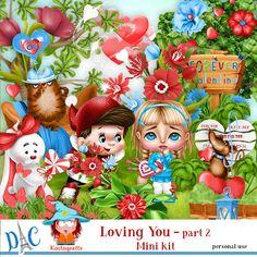 Loving You Mini kit Part 2 by kastagnette - Kit, Love You, Character, Te Amo, Je T'aime, I Love You, Lettering