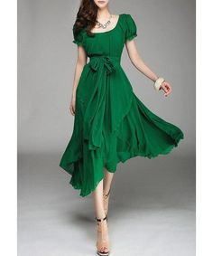 Refreshing Scoop Neck Solid Color Short Sleeve Chiffon Dress