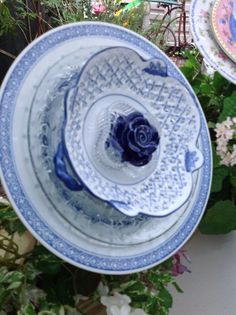 Upcycled  Beautiful Blue and White Dish Flower