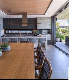 Que linda varanda gourmet super ampla e integrada com a área externa! Kitchen Room Design, Modern Kitchen Design, Home Decor Kitchen, Modern House Design, Interior Design Kitchen, Home Kitchens, Diy Kitchen, Kitchen Ideas, Sweet Home