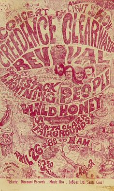 Vintage, retro, hippie classic rock poster - CCR Creedence Clearwater Revival one of thee best bands of all time, and look awesome type- hand written no less! Rock Posters, Band Posters, Hippie Posters, Vintage Concert Posters, Vintage Posters, Rock And Roll, Wes Wilson, Concert Rock, Creedence Clearwater Revival