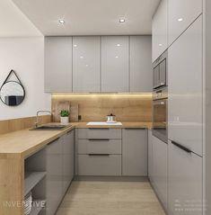 Pastele i złoto - zdjęcie od Idea by Mag. Simple Kitchen Design, Luxury Kitchen Design, Kitchen Room Design, Kitchen Cabinet Design, Kitchen Layout, Home Decor Kitchen, Interior Design Kitchen, Modern Kitchen Interiors, Modern Kitchen Cabinets