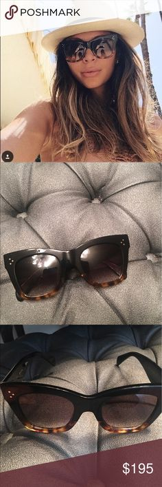 Celine Catherine ombré sunglasses Very in and very stylish  Used Celine CL 41098/F/S  50 used small Catherine Sunglasses. Glasses only no case Oversized cat eye frame in black/havana ombre.         scratches on frame and lens throughout  Bloggers favorite. Measures 50-23-145. 100% authentic.retails for 475 Celine Accessories Sunglasses
