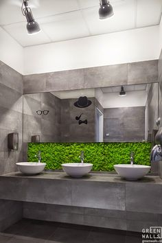 Greenery behind bowl sink