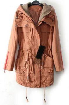 Pink Hooded Drawstring Waist Pockets Trench Coat