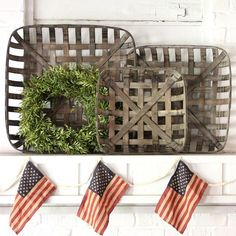 Tobacco Basket Wall Decor, Set of 3
