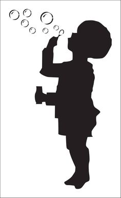 Boy with bubbles. Kids stencil (ref Boy Silhouette, Silhouette Portrait, Wall Paint Patterns, Painting Patterns, Custom Stencils, Stencil Designs, Banksy Stencil, 3d Birthday Card, Front Porch Signs