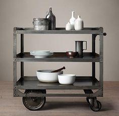 1930s Grey Industrial Steel Bar Cart